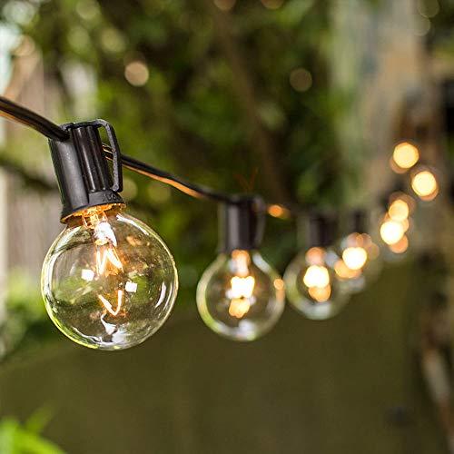 Vmanoo String Lights, 25Ft Globe Patio Lights with 27 Clear G40 Bulbs, Handling String light UL listed for Outdoor Indoor Use, Party Wedding Garden Gazebo Pergola Backyard Deck, Black ()