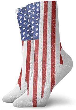 bishishengbibaihu Vintage Black American Flag 3D gedruckte Geschenksocken Unisex Herren und Damen lustige Sportsocken