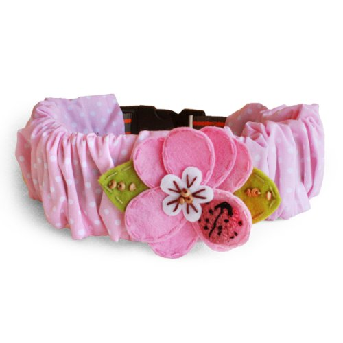 Tail Trends The Original Collar Cozy - Pink Flower with Ladybug Design (Small)