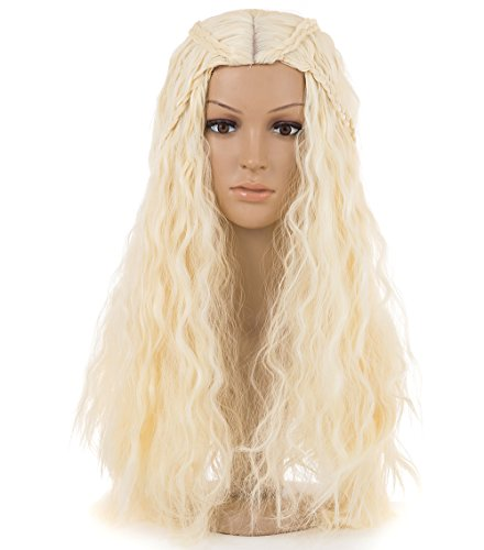 [Spretty Women's Charming Long Curly Wave Braided Wigs for Cosplay Custume Party Wig(Beige)] (Daenerys Targaryen Costume Hair)