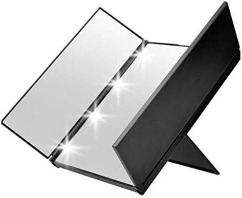 ZMHZJ 照明付き化粧鏡、ライト付き8 LEDバニティミラー、ライト付きの調整可能スタンド、三つ折りメイクアップミラー付きコンパクトミラー (Color : Black)