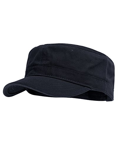 NYFASHION101 Fashionable Solid Color Unisex Adjustable Strap Cadet Cap, Navy