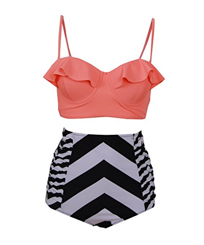 Haicoo Vintage High Waist Floral Women's Bikini Set Strappy Push Up-X030-OTZB2,Orange Top With Zebra Bottom,Medium
