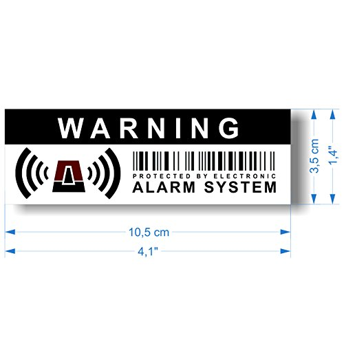 """12 x Security Alarm Warning Sign Stickers - for internal and external use - Protection for home, car... - Weatherproof - Size: 4,1 x 1,4 in - """"Warning - Protected by electronic alarm system"""""""