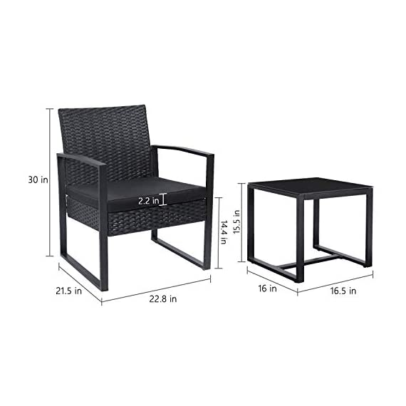 Flamaker 3 Pieces Patio Set Outdoor Wicker Patio Furniture Sets Modern Bistro Set Rattan Chair Conversation Sets with Coffee Table for Yard and Bistro (Black) - 【Simple & Practical】 Closed armrest and leg design makes the chair simple but modern and no need to worry about the rattan falling off when they are used after a long time. 【Sturdy & Durable】The powder coated steel frame are rust-proof and high-quality hand woven weather-resistant PE wicker won't fade.Each seat supports up to 250 pounds. 【Upgraded Comfort】The wide and deep chairs cushioned by very soft padded seat cushions will make you forget your fatigue and enjoy your leisure time completely. - patio-furniture, patio, conversation-sets - 41GtaHlO4yL. SS570  -