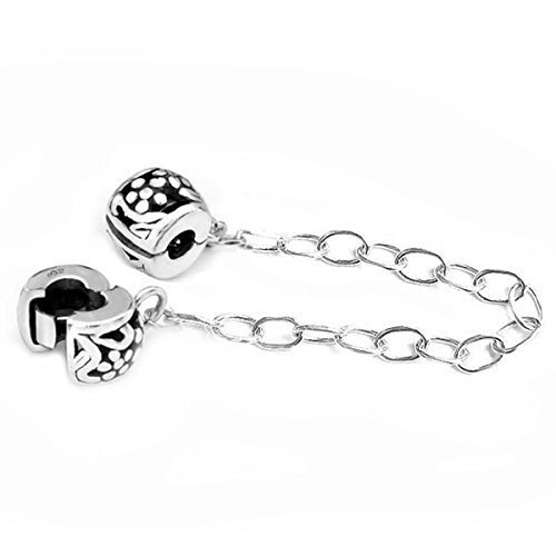 (Sterling Silver Stopper Safety Chain Bead For European Charm Bracelets)