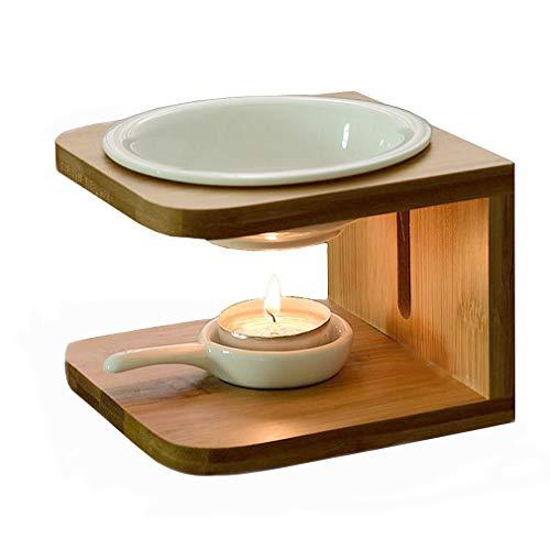 Singeek 100ML Ceramic Tea Light Holder,Essential Oil Burner Candle Aroma Diffuser For Spa Yoga Meditation (wood)