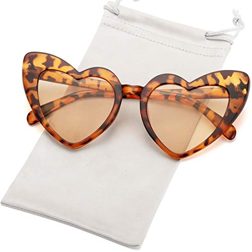 Heart Shaped Sunglasses for Women Girls Ladies Vintage Goggle Mod Sun Glasses Shades (Leopard Frame/Brown Lens)