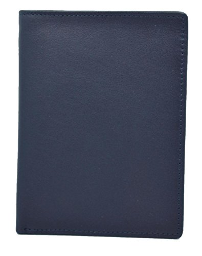 Royce Leather RFID Blocking Bifold Passport Currency Travel Wallet, Blue