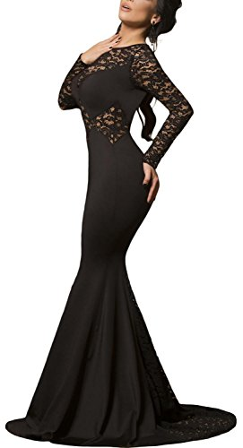 Viyoung Womens Sexy Black Lace Sleeve Mermaid Evening Party Dress (L(US Size (Stretch Prom Formal Dress)