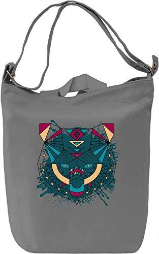 Poligonal Fox Borsa Giornaliera Canvas Canvas Day Bag| 100% Premium Cotton Canvas| DTG Printing|