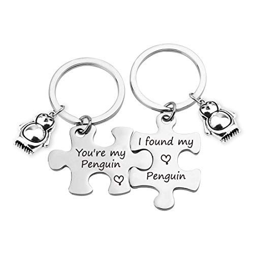 TOGON Couple Puzzle Keychain Set You're My Penguin Keychain Penguin Lover Gift Wedding Jewelry Valentines Gift for Lover (Found My Penguin KR)]()