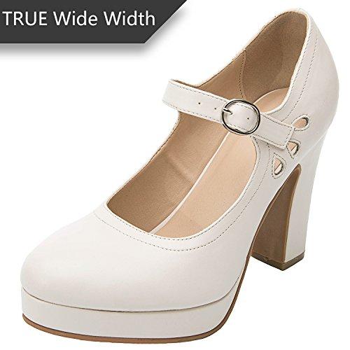 Luoika Women's Wide Width Heel Pump - Ankle Buckle Strap Heel Close Toe Stilleto Platform Mary-Jean Shoes.(Beige PU, 180334,Size ()