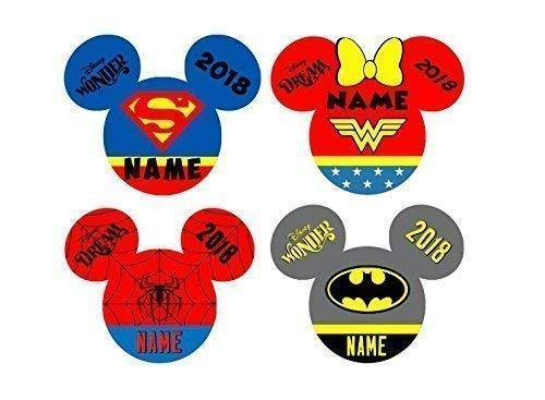 SET of 4 Personalized Disney Superman, Wonder Woman, Spiderman, Batman Mickey Inspired Magnet for Disney Cruise with your -