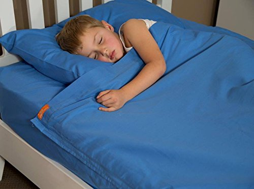 Kids Zip Sheet 100% Cotton Bright Blue to Fit a Twin Size Bed - Sheets with Zippers