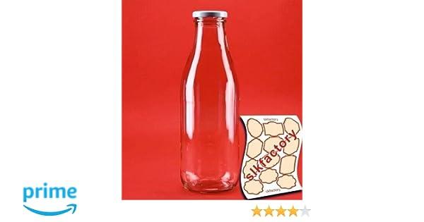 SLK-Juego de 6 botellas de vidrio, con tapas, cristal, blanco, 500 ml