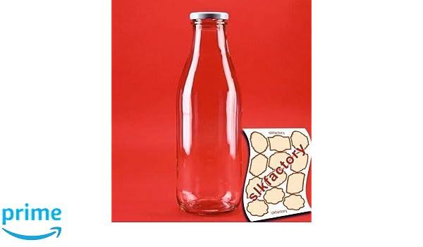 SLK-Juego de 6 botellas de vidrio, con tapas, cristal, blanco, 500 ml: Amazon.es: Hogar