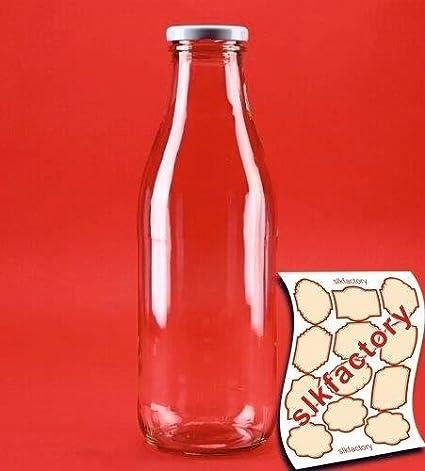 6 botellas de vidrio, botellas de leche de cristal, en tamaños de 200 ml / 250 ml / 500 ml / 1000 ml con tapa de rosca, de slkfactory., cristal, ...