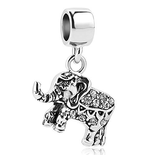 (QueenCharms Good Luck Elephant Charm Beads for Snake Chain Bracelets (White))