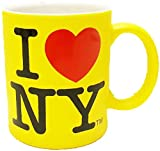 I Love New York Colorful Mugs- 11 oz Double Sided I Love NY Mugs in Colors Yellow, Pink, Orange, Blue, Purple, Black and White Souvenirs (Yellow)