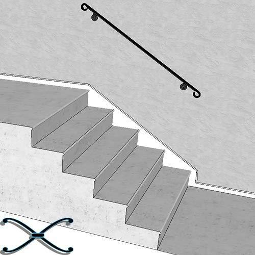 "Iron X Handrail Wall #5-60"" Wall Mounted Handrail"