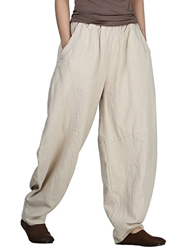 Women's Cotton Linen Pants Cropped Wide Leg Baggy Tapered Capri Elastic Waist Ankle Trousers with Pockets L ()
