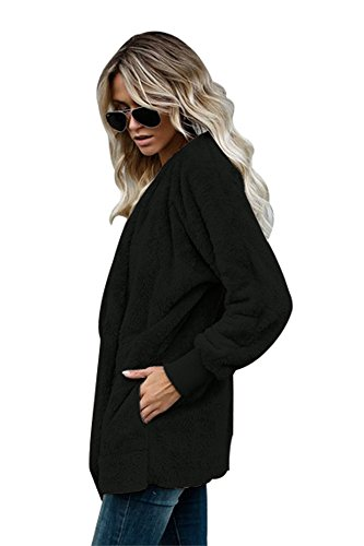 con de abrigo Plus Designer BaronHong chaqueta s negro capucha casual Size Women's FwaYz