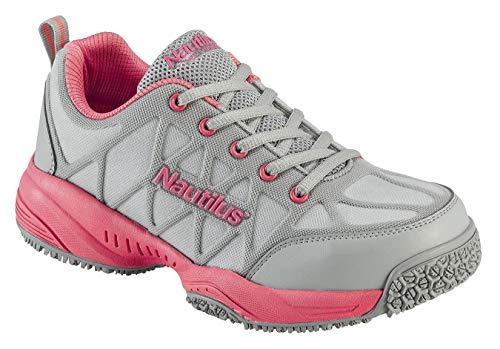 Nautilus 2155 Women's Comp Toe Light Weight Slip Resistant Safety Toe Athletic Shoe, Grey, 8.5 M US