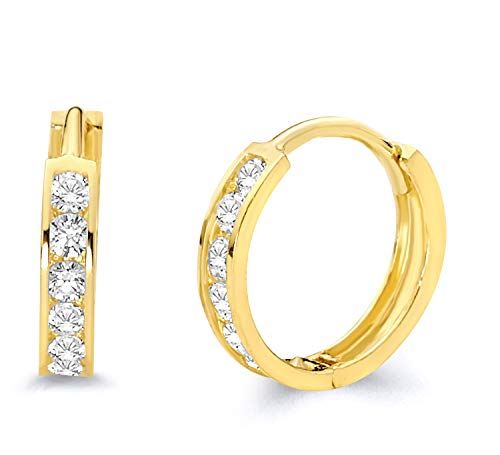 14k Yellow Gold 2mm Thickness CZ Channel Set Hoop Huggie Earrings (11 x 11 mm) ()