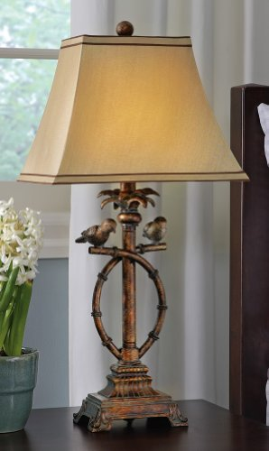 Tropical Antique Look Bird Table Lamp By Collections Etc