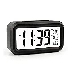 Digital Alarm Clock, Battery Operated Long Battery Life Alarm Clock, Back Light/Snooze Function/Large Digit Display/Electronic Alarm Clock for Kids/Heavy Sleepers/Bedroom/Travel/Loud-Black