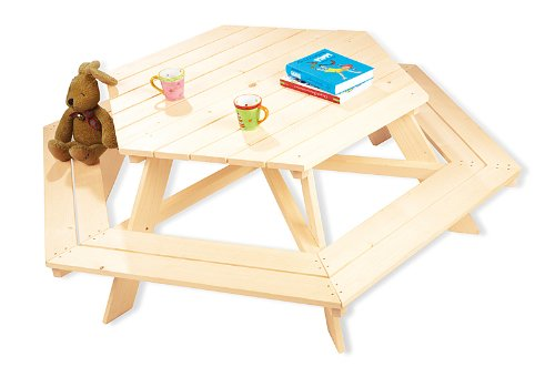 Picknicktisch Kinder Pinolino Kindersitzgruppe Nicki 6-Eck