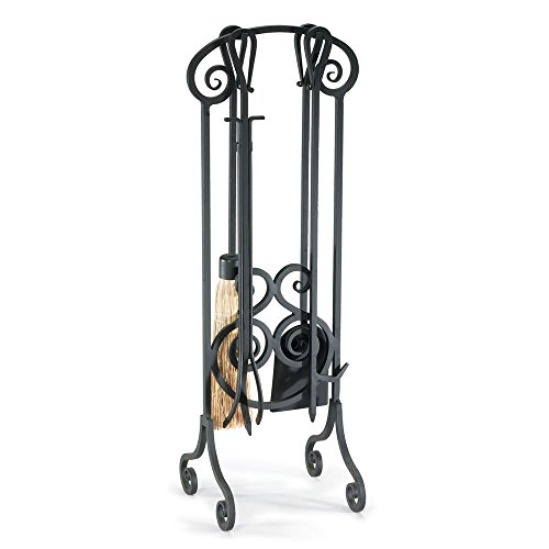 NAPA FORGE Pilgrim Home and Hearth 19002 Antique Scroll Fireplace Tool Set, Brushed Pewter, 33″, 20 lbs,