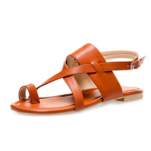 SJJH Flip-Flop Sandals with Flat Heel and Large Size 11 UK for Fashion Women Brown dBjfimj