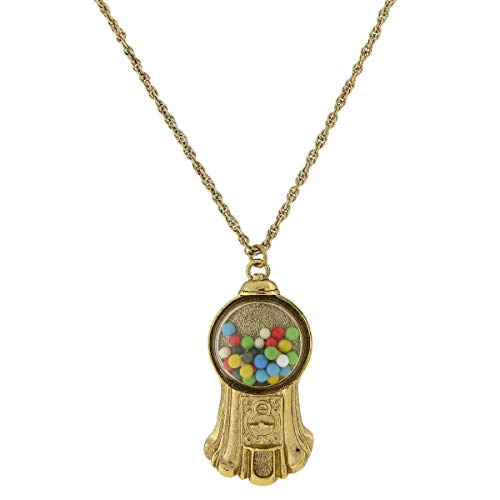 1928 Jewelry Antiqued Gold-Tone Gumball Machine Pendant Necklace
