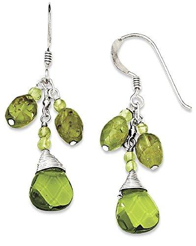 ICE CARATS 925 Sterling Silver Green Peridot Crystal Drop Dangle Chandelier Earrings Fine Jewelry Gift Set For Women Heart