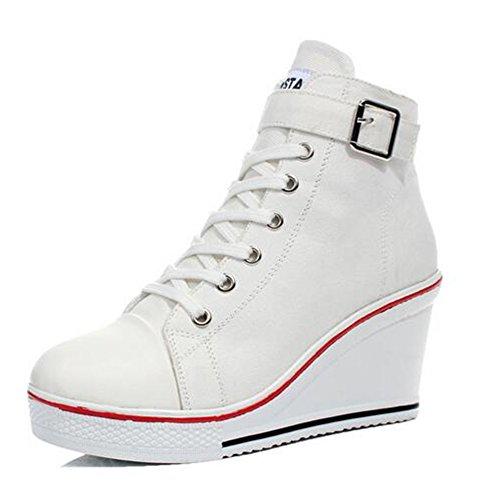 Sneakers Ladies Color Negro Mujer Casual 35 para 43 tamaño Botines Otoño Primavera Comfort Canvas Blanco Top Size Blanco Large Rosa High 38 de Sneakers Rojo Zapatos qpBC6Tx