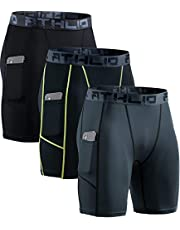 ATHLIO Men's (Pack of 3) .Athletic Cool Dry Compression Shorts, Sports Performance Active Running Tights