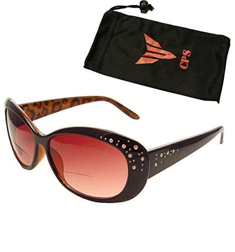 (Women Fashion Designer Oversized Lenses Bifocal Sun Readers Sunglasses Reading Glasses with Rhinestone (1 Pair, 1.50))