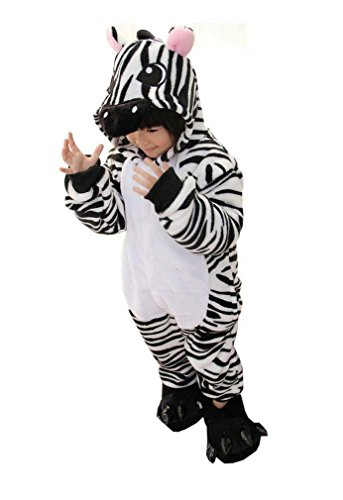 Kids Zebra Costume (Cosplay Halloween Unisex Childrens' Costume Cute Party Animal Pajamas One-Piece Zebra)