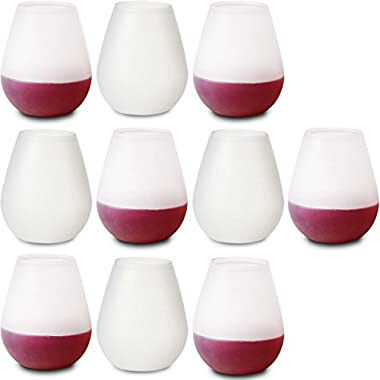 10 Unbreakable Stemless Silicone Wine Drinking Glasses. Bulk Set of Clear 12 oz Premium Food Grade, Dishwasher Safe, Rubber Cups. Best as Shatterproof Wine, Beer, & Cocktail Drinkware.…
