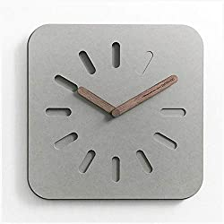 VAWAA 12 Inches European Style Gray Eco-Friendly Wooden Watch Modern Design Home Decorative Square Concrete Wall Clock