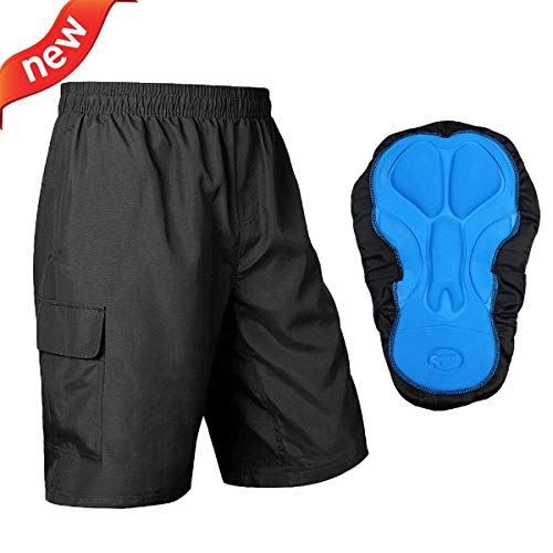 Baleaf Men's Mountain Bike Shorts 3D Padded MTB Bicycle Shorts for Riding, Cycling,Quick Dry, Black Size XL