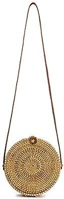 louzheni Rattan Umh/ängetasche Handgewebte runde Handtasche Damen Strohbeutel Runde Handtasche Kreis Handgewebte Strand Taschen