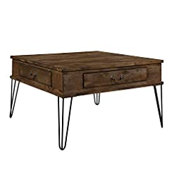 Farmhouse Coffee Tables Lexicon Oquin 32″ x 32″ Coffee Table, Rustic Oak/Black farmhouse coffee tables