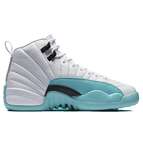 Jordan Kid's Air 12 Retro GS, White/Light Aqua-Black, Youth Size 9