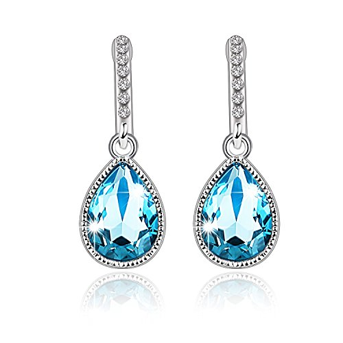 Pealrich Teardrop Fashion Jewelry Dangle Love Earrings with Swarovski Crystal,Valentine's Day Gift for Her (Blue)