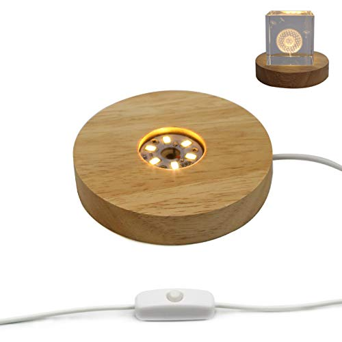 (Mintso Wood LED Light Dispaly Base for Laser Crystal Glass Art,4 Inch,Warm Light (B))