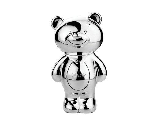 Die Teddybär hochwertige Teddybär Die Spardose - Die versilberte Bären Sparbüchse mit Wunschgravur d5f40f