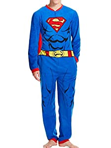 DC Comics Mens Blue Fleece Superman Union Suit With Cape Onesie Sleeper